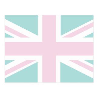 Pink with pale green Union Jack British(UK) Flag Postcard