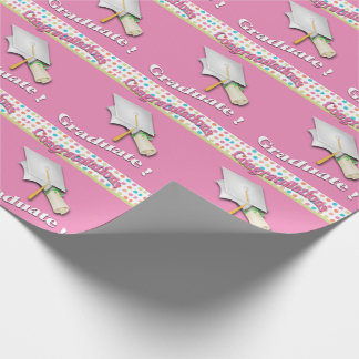 Pink with Polka Dots Graduation Wrapping Paper