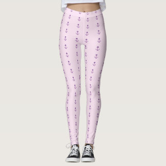 Pink With Purple Nautical Anchors Leggings