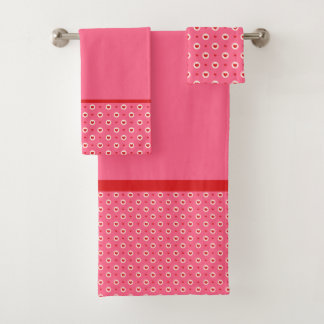 Pink with Red Hearts Bath Towel Set