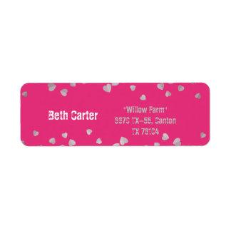 Pink with silk heart wedding address label