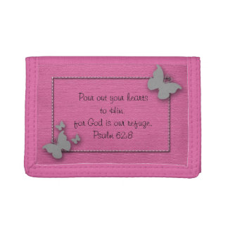 Pink with Silver Butterflies Bible Verse Wallet