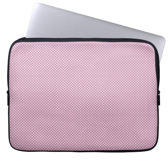 Pink With Simple White Dots Laptop Sleeve