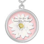 Pink with White Gerbera Daisy Personalised Text Round Pendant Necklace
