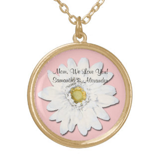 Pink with White Gerbera Daisy Personalized Text Gold Plated Necklace