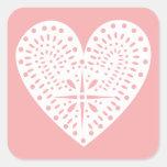 Pink With White Heart Valentine's Sticker