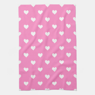 Pink With White Hearts Kitchen Towel