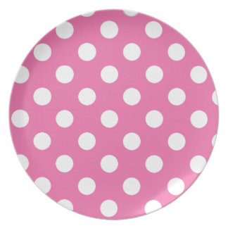 Pink with White Polka Dots Dinner Plates