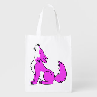 Pink Wolf Pup Howling Reusable Grocery Bag