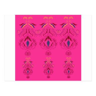 Pink wonderful Ornaments Folk design Postcard