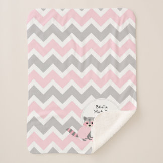 Pink woodland animal baby girl birth stats blanket