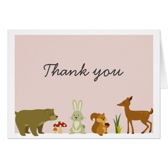 Pink woodland Friends Thank You card