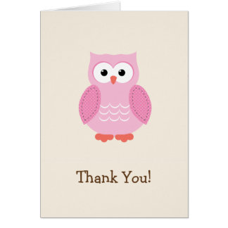 Pink Woodland Owl Thank You Note Card