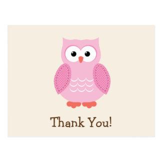 Pink Woodland Owl Thank You Postcard