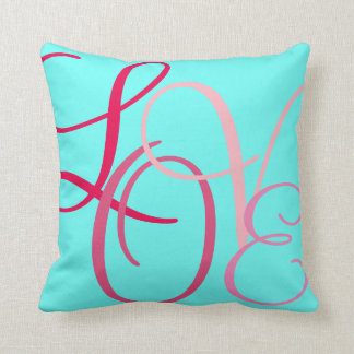 Pink Word Love on Turqouise Throw Pillow