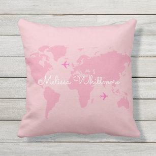 pink world map & aeroplanes, custom outdoor cushion