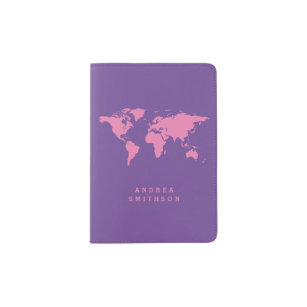 Pink World Map PICK YOUR COLORS Kids Passport Holder