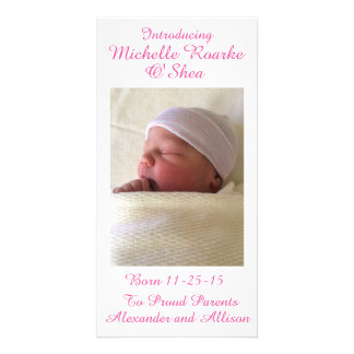 Pink Writing Inscription Baby Announcement 8x4 Card