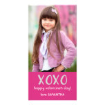 Pink XOXO Valentine Photo Card Custom Photo Card