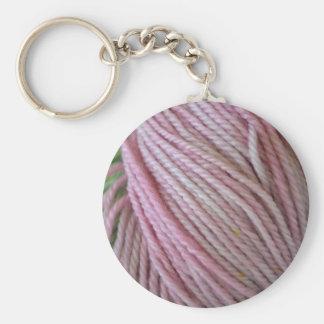 Pink Yarn Basic Round Button Key Ring