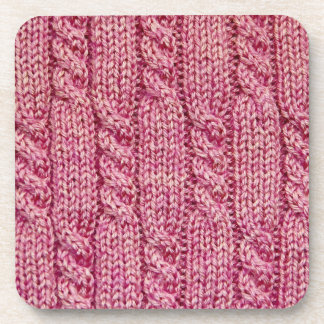 Pink Yarn Cabled Knit Coaster