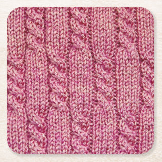 Pink Yarn Cabled Knit Square Paper Coaster