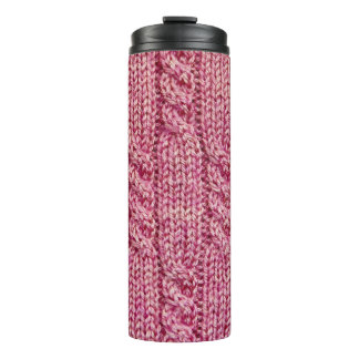 Pink Yarn Cabled Knit Thermal Tumbler