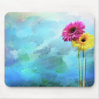 Pink Yellow abstract Daisy Mouse Pad