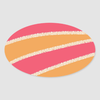 Pink Yellow Abstract Oval Sticker