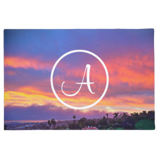 Pink yellow and blue sunrise photo custom monogram doormat