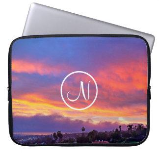 Pink yellow and blue sunrise photo custom monogram laptop sleeve