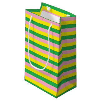 Pink, Yellow and Green Stripes Small Gift Bag