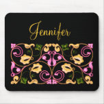 Pink Yellow and Green Vine with Name Mousepads