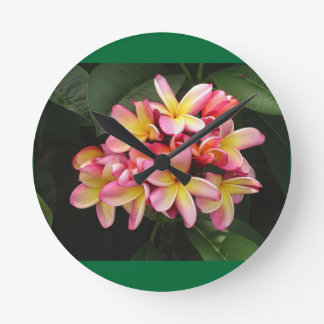 Pink, Yellow and Red Plumeria Flowers Round Clock