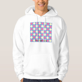 Pink yellow argyle pattern on blue hoodie