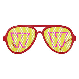 Pink Yellow Aviator Party Shades, Red Sunglass Aviator Sunglasses