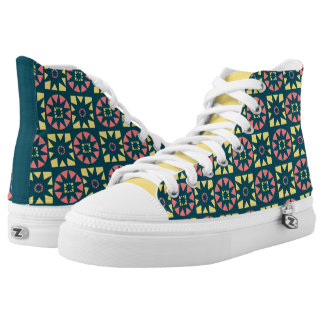 Pink Yellow Aztec Geometric Floral Print High Tops