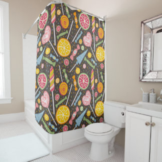 Pink Yellow Blue Candy on Brown  Shower Curtain