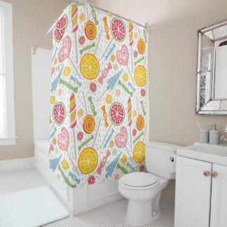 Pink Yellow Blue Candy on White Shower Curtain