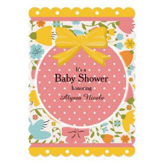 Pink Yellow Blue Floral and Polka Dot Baby Shower Card