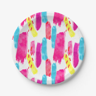 Pink Yellow Blue Watercolor Paint Strokes | Paper Plate