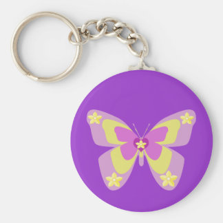 Pink & yellow butterfly with flowers basic round button key ring