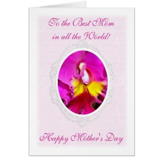 Pink Yellow Cattleya Mother's Day Card