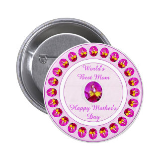 Pink yellow Cattleya Orchid Mother's Day Button