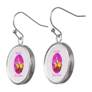 Pink Yellow Cattleya Orchid Mother's Day Earrings