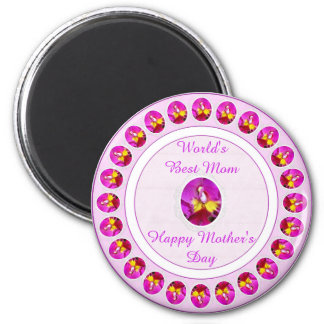 Pink Yellow Cattleya Orchid Mother's Day Magnet