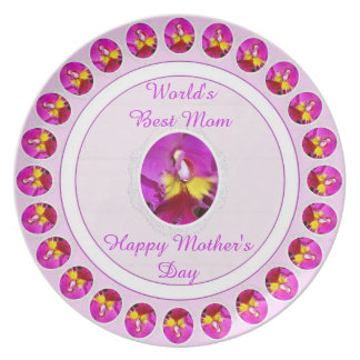 Pink Yellow Cattleya Orchid Mothers Day Plate