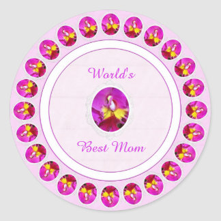 Pink Yellow Cattleya Orchid Mother's Day Stickers
