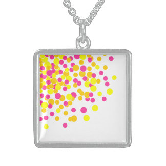 Pink Yellow Cute Spot Silver Square Necklace