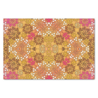 Pink Yellow Fancy Flower Abstract Tissue Paper